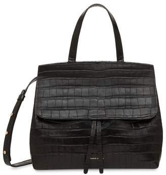 Mansur Gavriel Croc Embossed Leather Mini Lady Bag - Black
