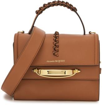 Alexander McQueen Story brown leather top handle bag
