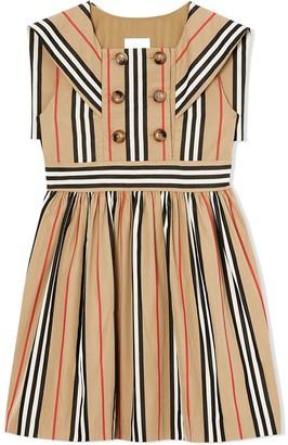 BURBERRY KIDS Icon Stripe Cotton Poplin Sailor Dress