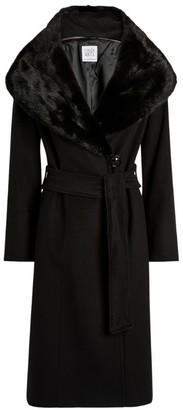 Cinzia Rocca Virgin Wool Mink-Trimmed Coat