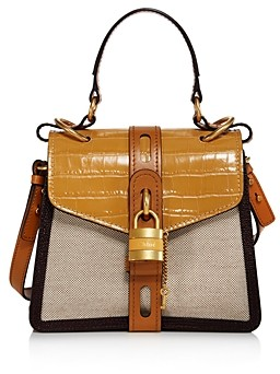 Chloé Aby Small Canvas & Croc-Embossed Satchel