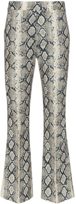 we11done Cropped Flared Python Effect Trousers