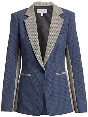 Derek Lam 10 Crosby Bowery Colorblocked Check Tailored Blazer