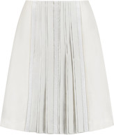 Tory Burch Noreen embellished pleated wool and silk-blend skirt