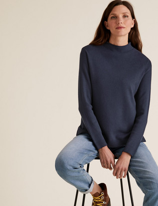 Marks and Spencer Soft Touch Funnel Neck Relaxed Jumper