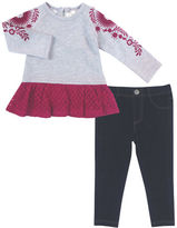 Jessica Simpson Set of Two Ruffle Skirt Top and Leggings Set