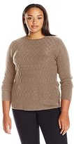 Sag Harbor Women's Plus Size Long Sleeve Braided Cable Crew Neck Cashmerlon Sweater