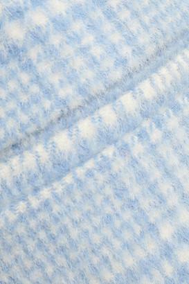 Ganni Woodside Flared Checked Wool-blend Felt Mini Skirt