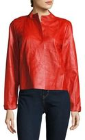 Lafayette 148 New York Solid Textured Leather Jacket