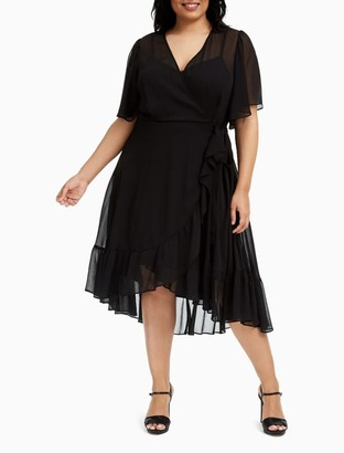 Calvin Klein Plus Size Chiffon Wrap High-Low Fit + Flare Dress