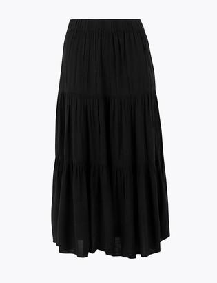 Marks and Spencer Tiered Midi Slip Skirt