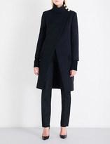 Balmain Button-detailed high-neck wool coat