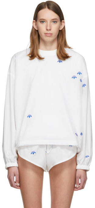 adidas By Alexander Wang by Alexander Wang White AW Crew Sweatshirt