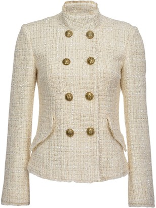 Pinko Double Breasted Tweed Military Jacket