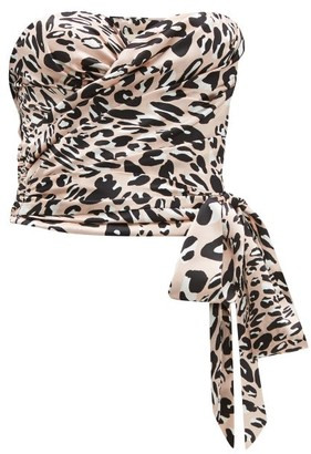 Alexandre Vauthier Leopard-print Satin Bustier - Womens - Pink Print