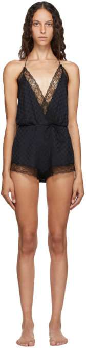 Gucci Black Silk Lace Bodysuit