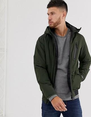 Barbour International Lane waterproof jacket with back logo waistband taping in khaki-Green