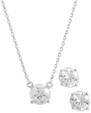 Alfani Silver-Tone Cubic Zirconia Pendant Necklace & Stud Earrings Set, Created for Macy's