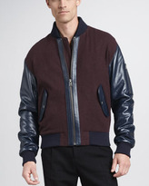 McQ by Alexander McQueen Leather-Trim Varsity Jacket