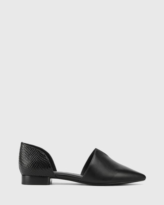 Wittner - Women's Black Flats - Midori Leather & Mini Snake Print Pointed Toe Flats - Size One Size, 40 at The Iconic