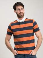 Tu Navy & Rust Stripe Rugby Shirt