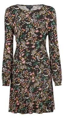 Dorothy Perkins Womens Black Stem Floral Print Empire Line Dress, Black