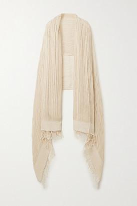 Miguelina Sekai Fringed Crocheted Cotton Shawl - Beige
