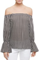 Sanctuary Charlotte Off-The-Shoulder Check Print Top