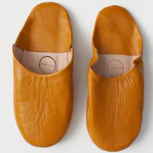 Bohemia Ochre Moroccan Babouche Slippers - Small - Yellow/Orange/Leather