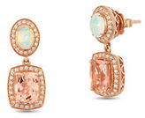 LeVian 0.33 TCW Morganite Opal White Diamonds, 2.62 TCW Gems and 14K Gold Earrings