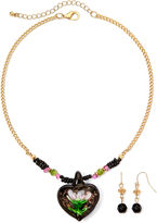 Glass Heart MIXIT Mixit Gold-Tone Black Murano Pendant Necklace and Earring Set