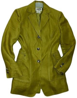 Hermes Yellow Linen Trench Coat for Women Vintage