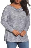 Sejour Plus Size Women's Dolman Sleeve Space Dye Tee
