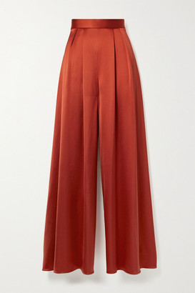 Brandon Maxwell Pleated Silk-satin Wide-leg Pants - Tomato red