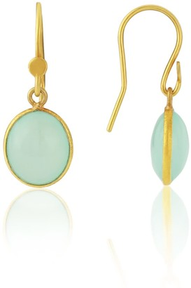 Auree Jewellery Pollara Gold Vermeil & Cabouchon Aqua Chalcedony Earrings