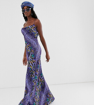 Taller Than Your Average TTYA cami strap maxi dress in purple python print