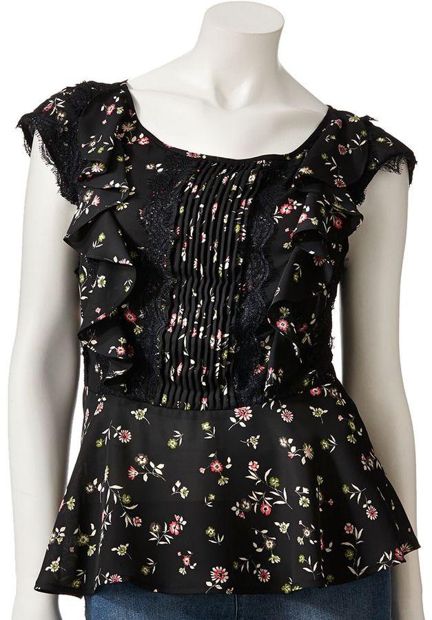 Lauren Conrad floral ruffle top