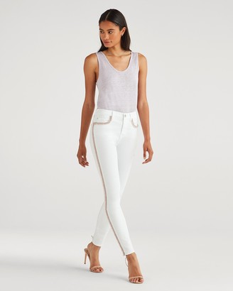 7 For All Mankind The High Waist Ankle Skinny with Rainbow Fringe in Runway White Fashion