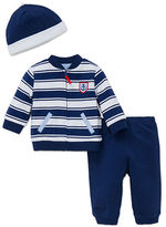 Little Me Three-Piece Striped Hat Jacket and Pants Set