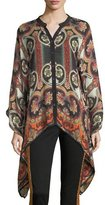 Etro Paisley Suzani Button-Front Wool-Silk Blouse
