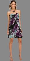 Purple Strapless Chiffon Print Bubble Dresses