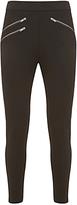 Mint Velvet Regular Biker Zip Ponte Leggings, Black