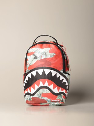 Sprayground Backpack Backpack In Vegan Leather With Shark And Dollars Print