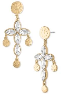 Rachel Roy Gold-Tone Hammered Coin & Crystal Cross Drop Earrings