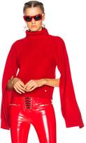 Versace Slit Sleeve Turtleneck Sweater in Red.