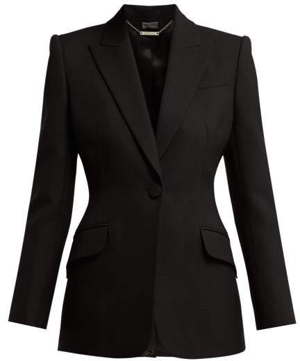Alexander McQueen Sculptural Wool Blend Blazer - Womens - Black