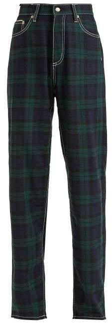 Eytys Benz High Waisted Tartan Jeans - Womens - Green Multi