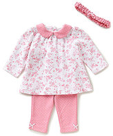 Little Me Baby Girls 3-12 Months Bunny Floral Printed Tunic and Pindotted Pants Set