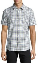 John Varvatos Mayfield Slim-Fit Plaid Sport Shirt, Medium Blue