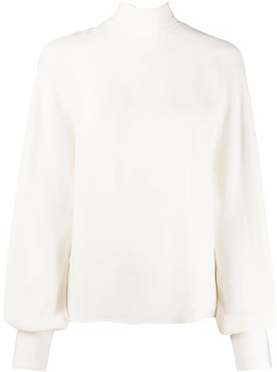 Valentino High-Neck Billowing Sleeved Blouse